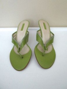 Unisa Patent Leather Zipper Detail Heel B3259 olive green Sandals