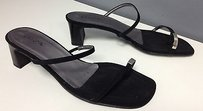 Unisa Strappy Silver Tone Toe Accent Slide Loe Heel B3443 Black Sandals