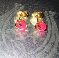 9k Gold Filled Ruby Colored Heart Earrings Free Shipping