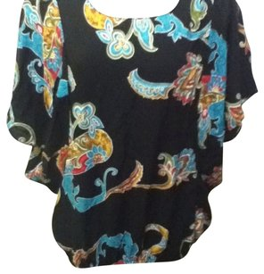 Unknown Paisley Shirt Top black teal orange