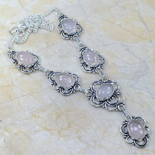 Silver Rose Quartz Y Necklace Free Shipping