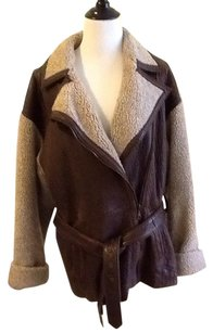 Vakko Leather Polyester Dryclean Only brown / beige Jacket