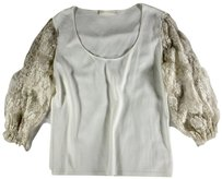 Valentino 40 Ivory Shirt Sleeve Llr Top