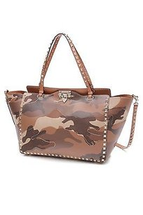 Valentino Camouflage Canvas Rockstud Tote in Brown