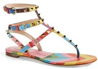 Valentino Rockstud Thong Rainbow Leather Triple Strap Multi Sandals