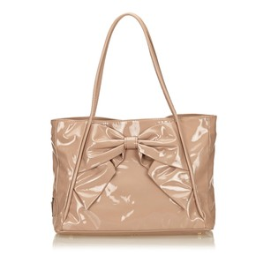 Valentino Beige Brown Leather Tote