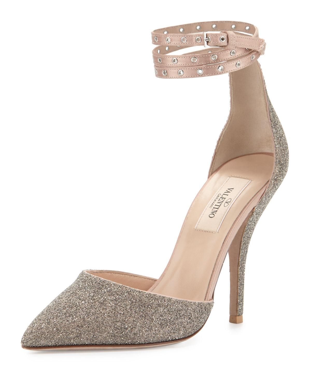 Valentino Beige Glitter Pointed-toe Ankle-wrap Pumps Size US 7.5 Regular (M, B)