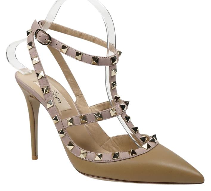 Valentino Beige New Rockstud 38/7.5 Light Brown Tan Leather T-strap Slingback Pointed Toe Pumps Size US 7.5 Regular (M, B)