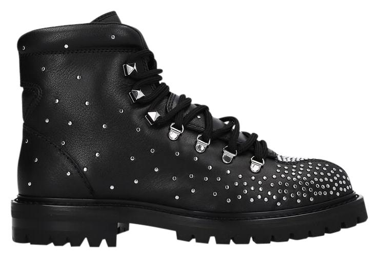 Valentino Black Dewstuds Leather Hiking Boots/Booties Size EU 38 (Approx. US 8) Regular (M, B)