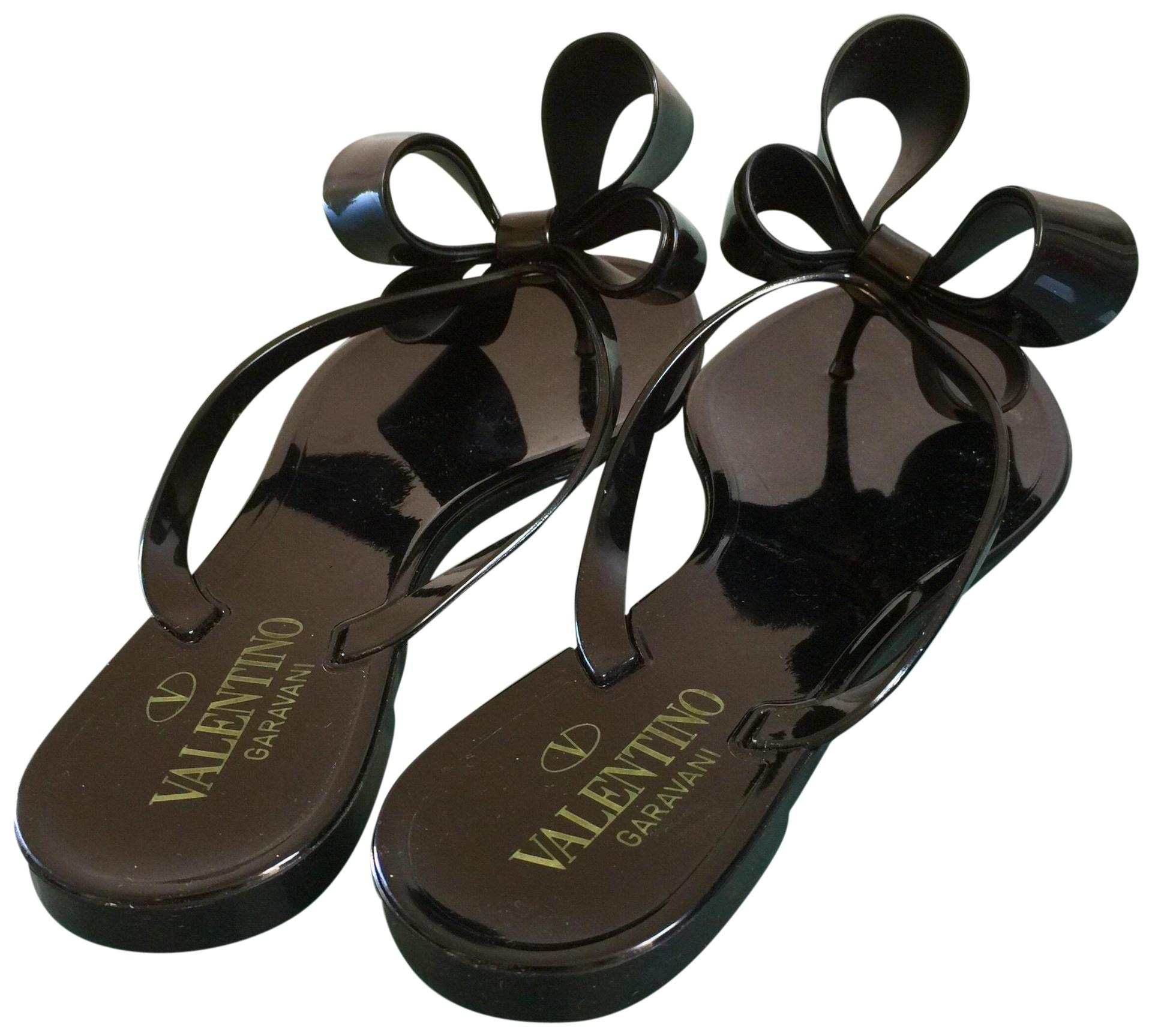 Valentino Black Limited Edition Jelly Thong Sandals Size US 6 Regular (M, B)