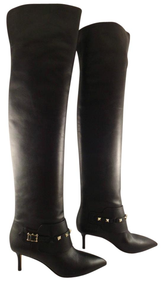 Valentino Black Rockstud Leather Thigh High Otk Over Knee Boots/Booties Size EU 36 (Approx. US 6) Regular (M, B)