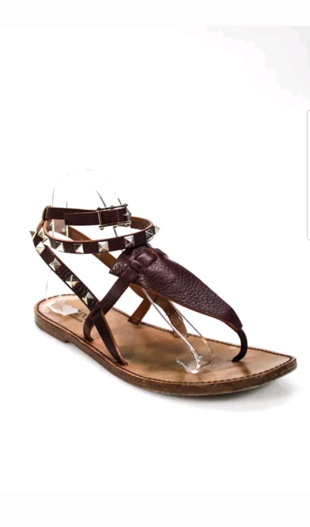 d40ed6e5eb4 Valentino Brown Rockstud Gladiator Leather Sandals - Flats Size Size Size  EU 39 (Approx.