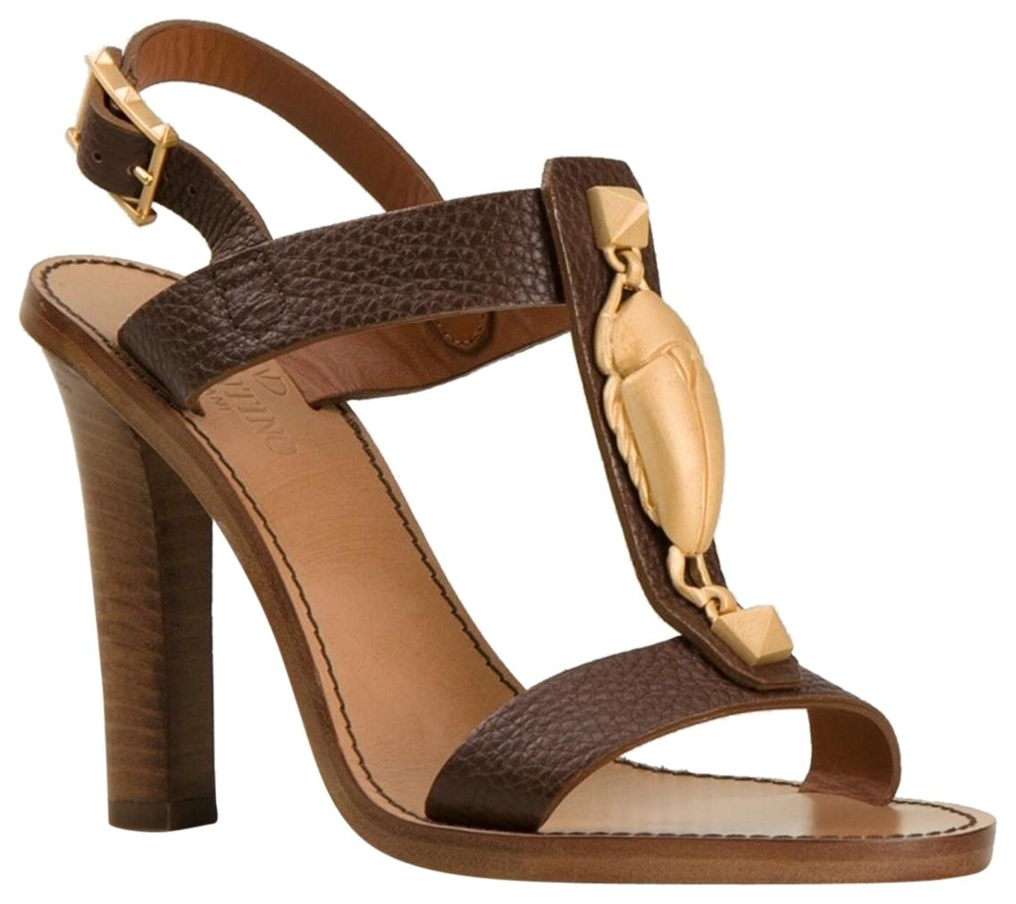 Valentino Brown Scarab Open-toe Pebbled Leather Sandals Size EU 38 (Approx. US 8) Regular (M, B)