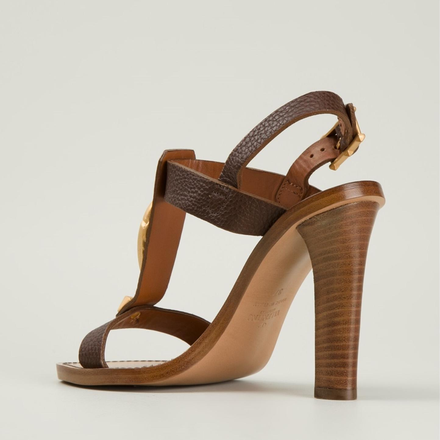 d5a4dfd52cdb ... Valentino Brown Scarab Open-toe Open-toe Open-toe Pebbled Leather  Sandals Size ...
