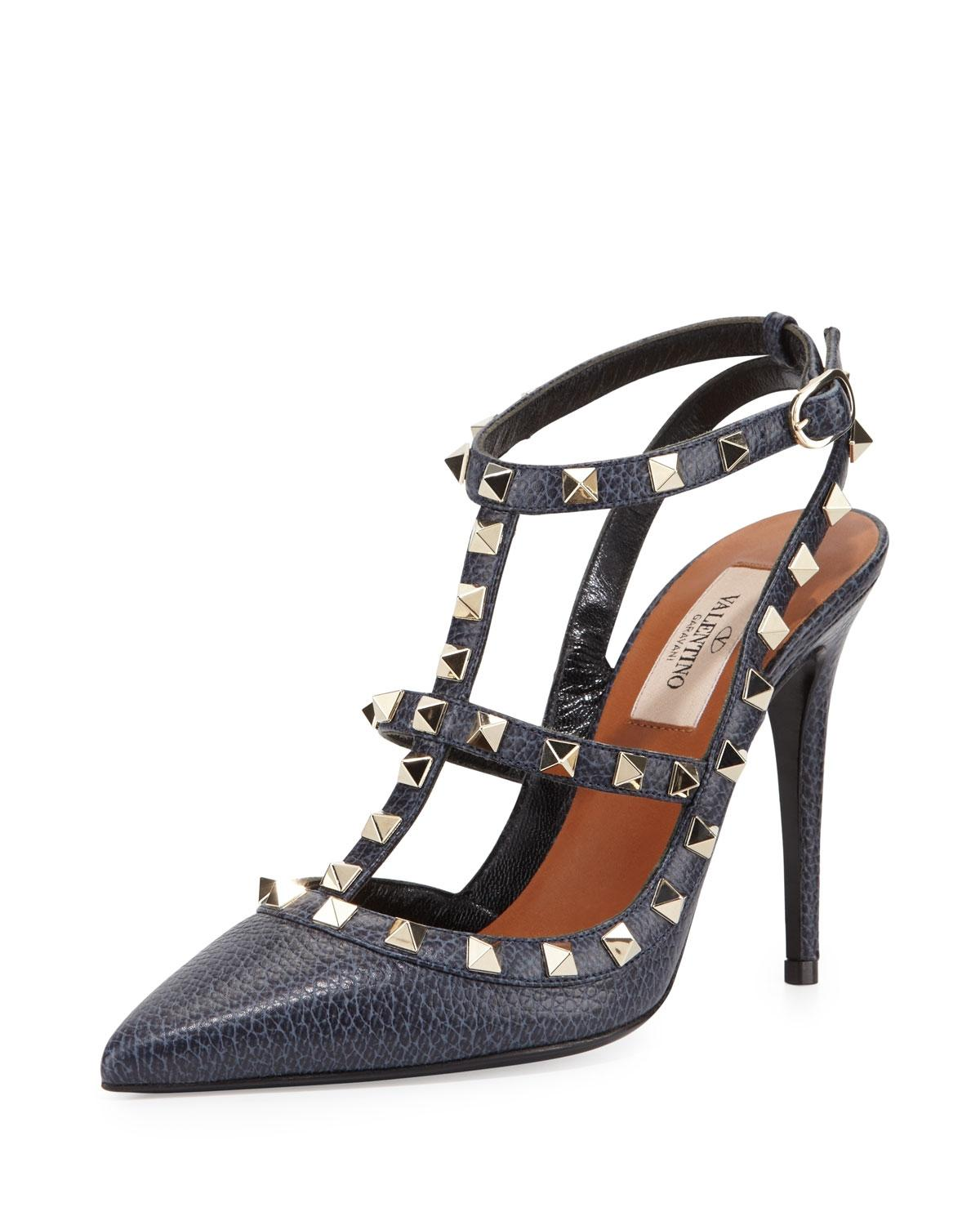 Valentino Deep Denim Garavani Rockstud Slingback 100mm Pumps Size EU 37 (Approx. US 7) Regular (M, B)