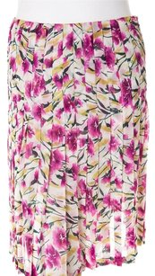 Valentino Floral Flower Pleated Silk Skirt Pink, Green, Cream