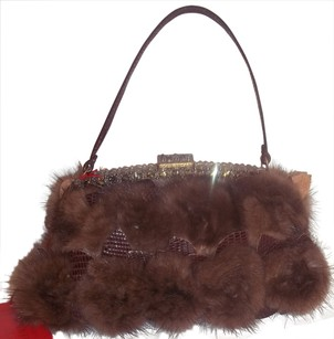 Valentino Genuine Mink Jeweled Frame SABLE BROWN Clutch