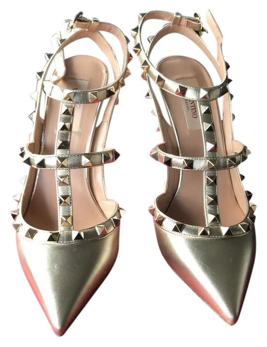 Valentino Gold 100mm Heels Formal Shoes Size US 8 Regular (M, B)