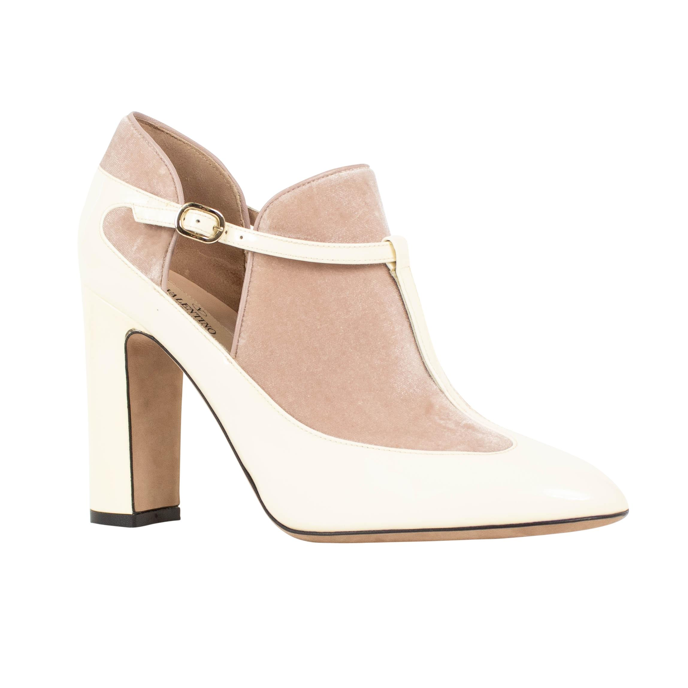 Valentino Ivory Leather Tstrap Buckle Heel with Nude Suede Pumps Size US 8.5 Regular (M, B)