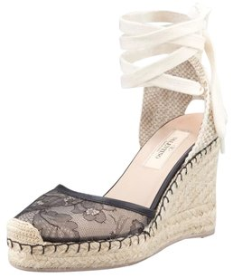 Valentino Lace Espadrille Ankle Tie Floral Wedges