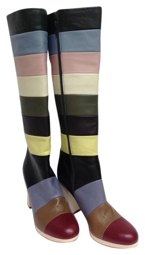 Valentino Multi Color Stripe Leather High Boots/Booties Size US 8 Regular (M, B)