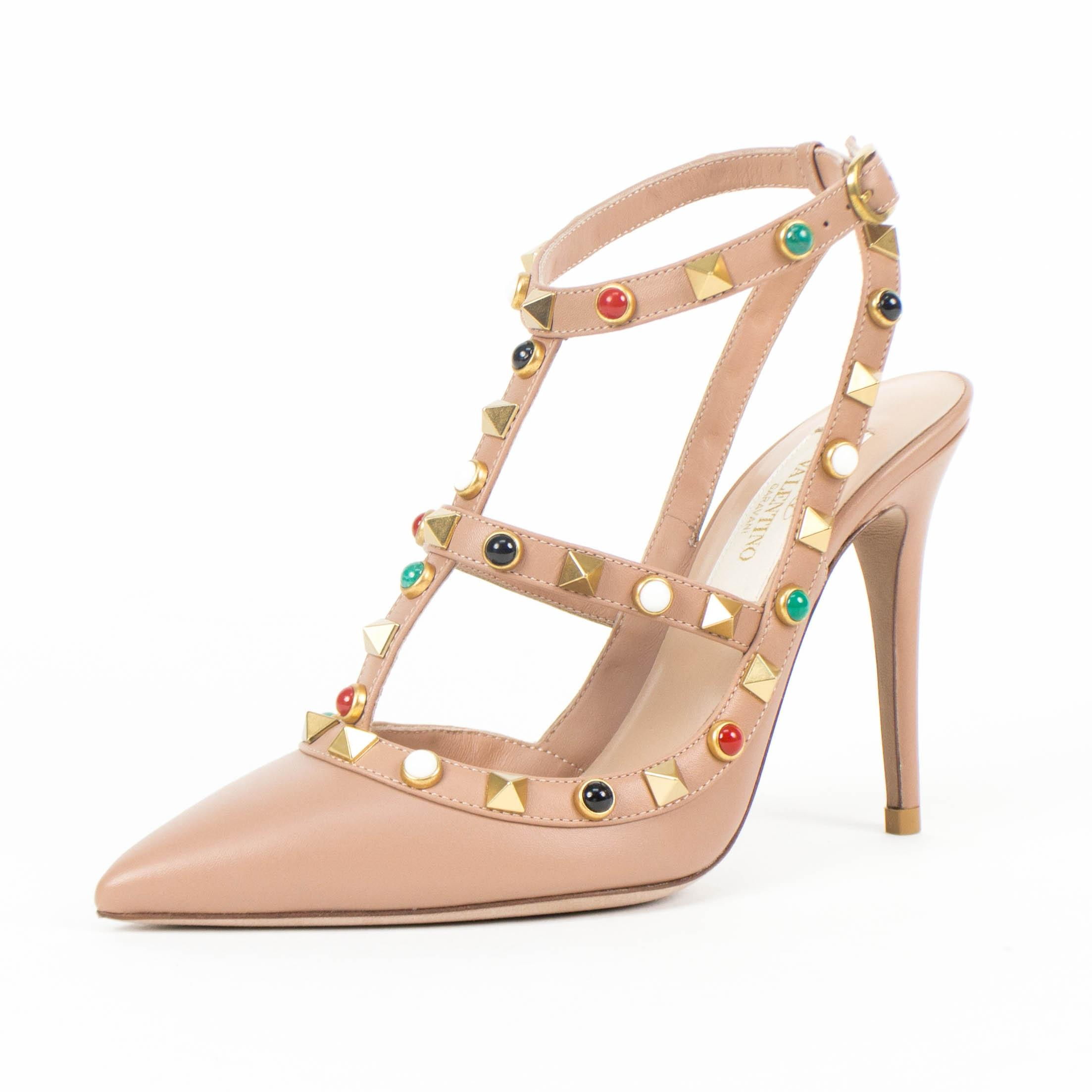 Valentino Nude Leather Rockstud Multiple Stone Heel Pumps Size EU 35 (Approx. US 5) Regular (M, B)
