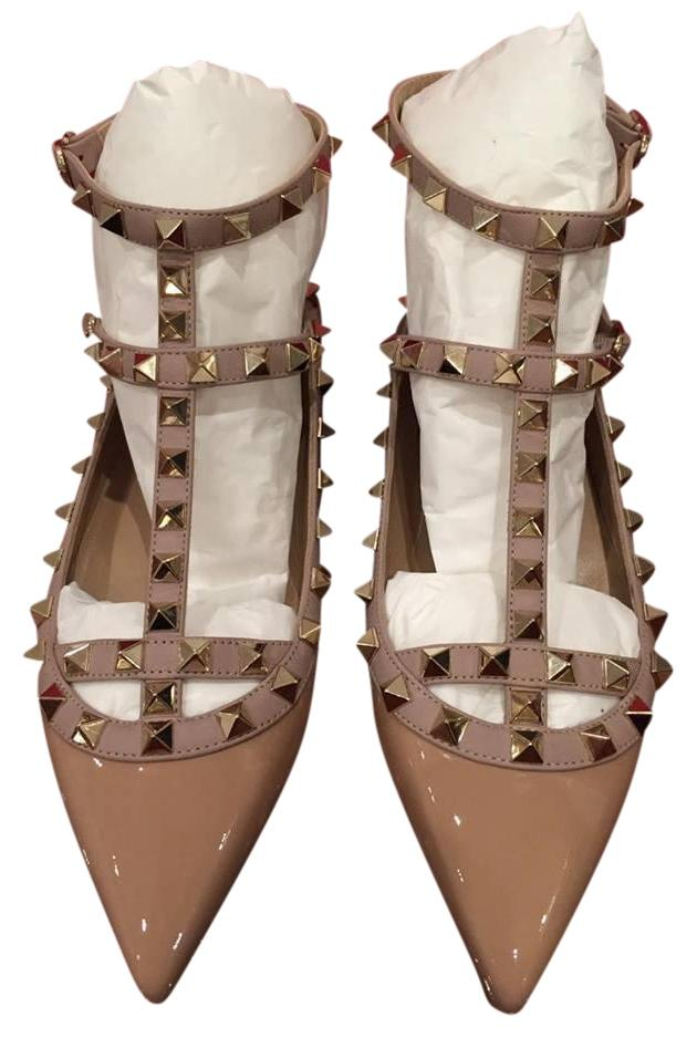 Valentino Nude Rockstud Patent Leather T Strap Cage Ballet 37.5 Flats Size US 7.5 Regular (M, B)