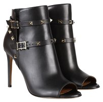 Valentino Open Toe Ankle Black Boots