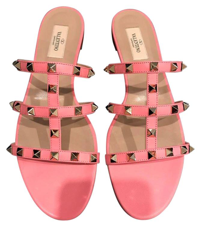 Valentino Pink Rockstud Paradise Leather Gladiator Slide Flat Sandals Size US 10.5 Regular (M, B)