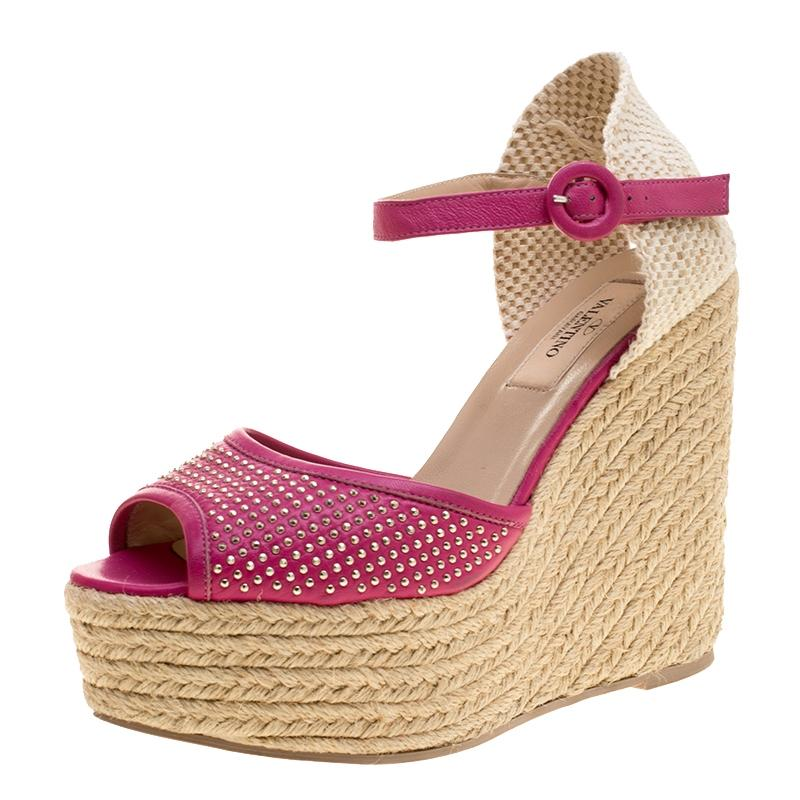 15ca99799a00 Valentino Pink Studded Leather Espadrille Espadrille Espadrille Wedge Ankle  Strap Sandals Size EU 37 (Approx