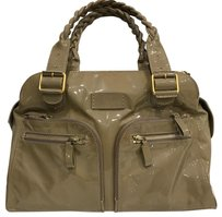Valentino Patent Leather Luggage Satchel in Nude