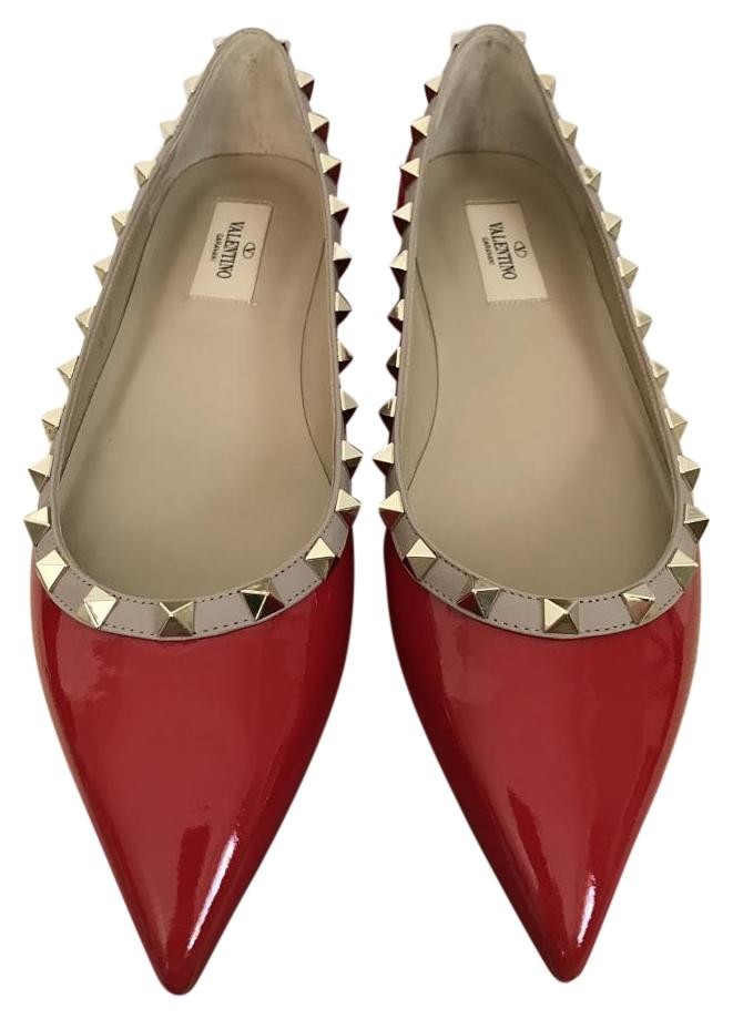 Valentino Red Rockstud Patent Leather Pointed Flats Size US 9