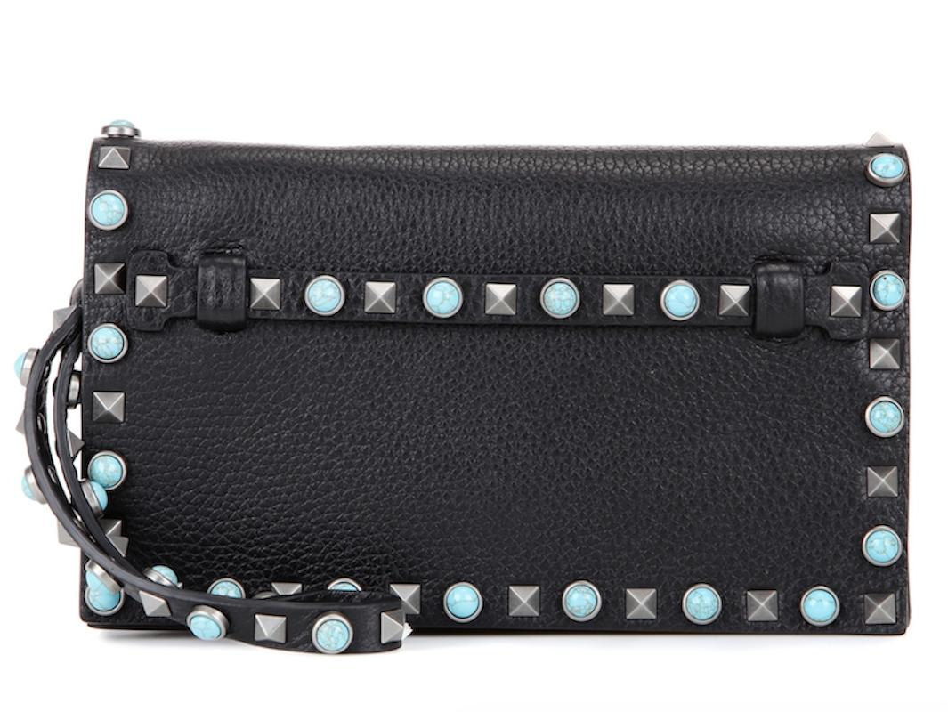 Valentino Rolling Beaded Spike Studded black Clutch ...