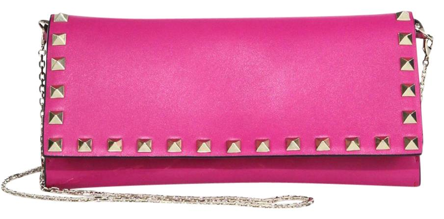 Valentino pink Rockstud studded leather wallet on a chain Lowest Price For Sale gPp7Y