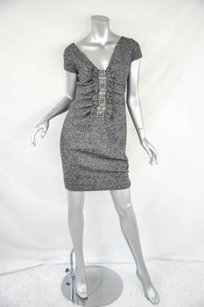 Valentino Womens Boucle Cap Sleeve Sheath Knee Length Fitted Pencil Dress