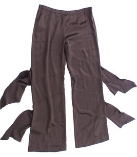 Valentino Spa Silk Tabbed Polyester Trouser Pants Brown