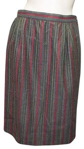 Valentino Gray Vintage Wool Blend Striped Pencil Hs1246 Skirt Multi-Color