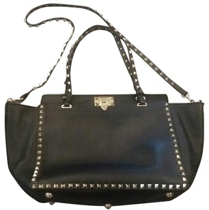 Valentino Studded Leather Calfskin Tote in Black