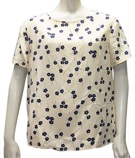 Valentino Vintage Silk Floral Short Sleeve Hs1178 Top Cream