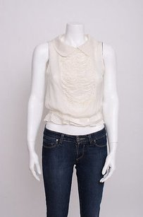 Valentino Cream Silk Gathered Sleeveless Peter Pan Collar 426 Top Ivory