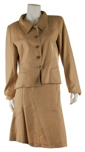 Valentino Valentino Beige Poly Lin and Viscose Skirt Suit, Size 12 (30484)