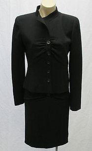 Valentino Valentino Black Virgin Wool Ruched Long Sleeve Skirt Suit Italy -