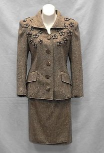 Valentino Valentino Boutique Vintage Brown Wool Pleated Blazer Wrap Skirt Suit