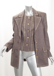 Valentino Valentino Boutique Womens Vintage Brown Tweed Zodiac Button Jackettop 8m