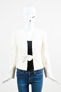 Valentino Valentino Cream Wool Crepe Bow Detail Collarless Blazer