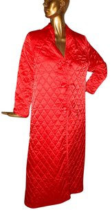 Valentino Valentino Vintage Red Quilted Bow Trim Full Length Robe Usa