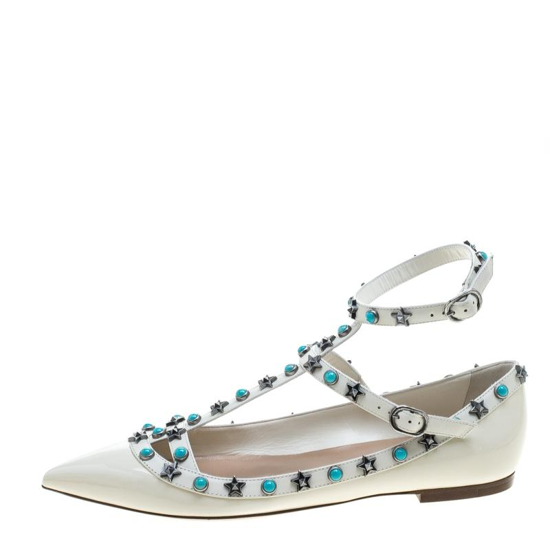 Valentino White Patent Leather Star Rolling Rockstud Cage Flats Size EU 38 (Approx. US 8) Narrow (Aa, N)
