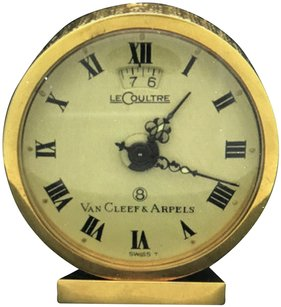 Van Cleef & Arpels Van Cleef & Arpels Le Coultre 18k Yellow Gold 8 Day Travel Alarm Clock