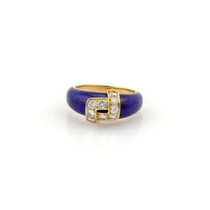 Van Cleef & Arpels Van Cleef Arpels Vca 18k Yellow Gold Lapis And Diamond Designer Band
