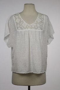 Velvet by Graham & Spencer Womens Floral Casual Cap Sleeve Shirt Semi Sheer Top White